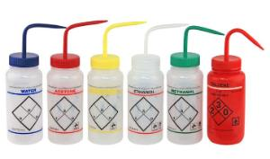Safety wash bottles, wide neck, colour coded