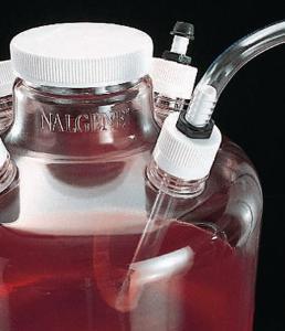 Closures with barbed bulkhead fittings, for bottles, Nalgene®