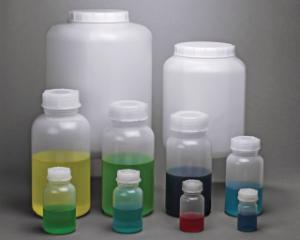 Bottles, wide neck, with heavy-duty screw caps