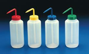 Wash bottles, wide neck, with coloured caps